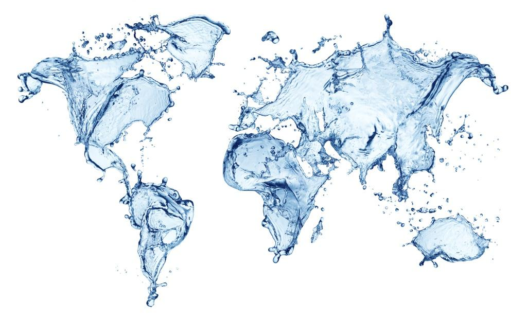 World map in water