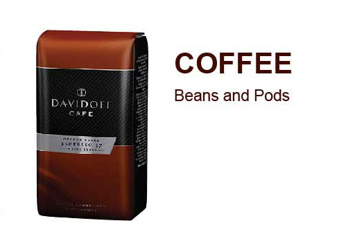 coffee beans and pods